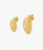 Single Leaf Gold Plated Silver Filigree Earrings