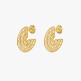 3/4 Circle Gold Plated Sterling Silver Filigree Earrings