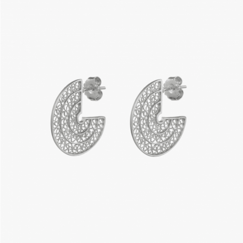 3/4 Circle Sterling Silver Filigree Earrings