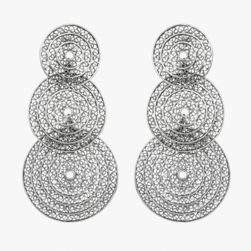 Elegant Three Circle Sterling Silver Filigree Earrings