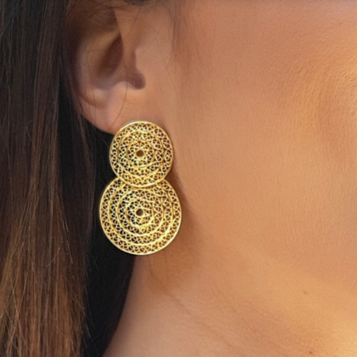Two Circle Elegant Gold Plated Sterling Silver Filigree Earrings