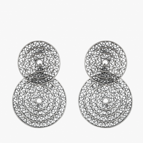 Two Circle Elegant Sterling Silver Filigree Earrings