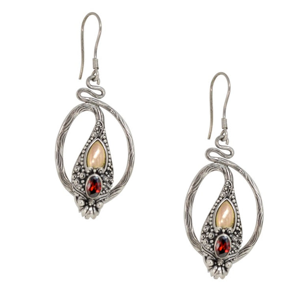Barong Serpent Sterling Silver and 18K Gold Earrings