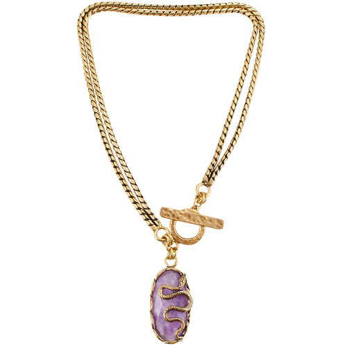 Amethyst and Serpent Pendant Latch Necklace