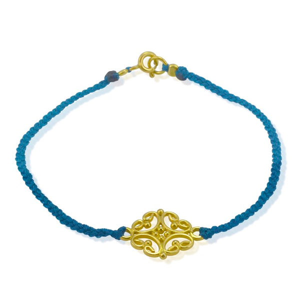 Gold Plated Sterling Silver and Cord Bracelet - Blue