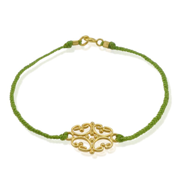Gold Plated Sterling Silver and Cord Bracelet - Green
