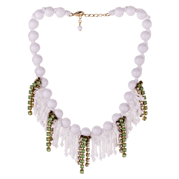 Sicilian Beaded and Green Crystal Necklace by A'BIDDIKKIA