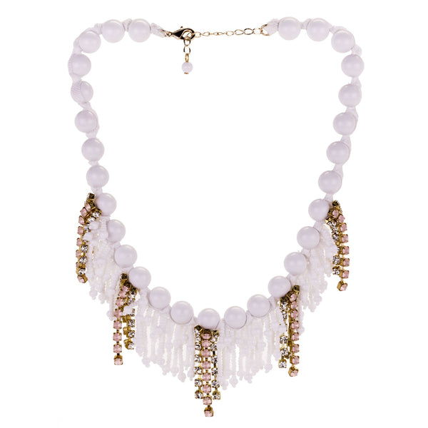 Sicilian Beaded and Pink Crystal Necklace by A'BIDDIKKIA