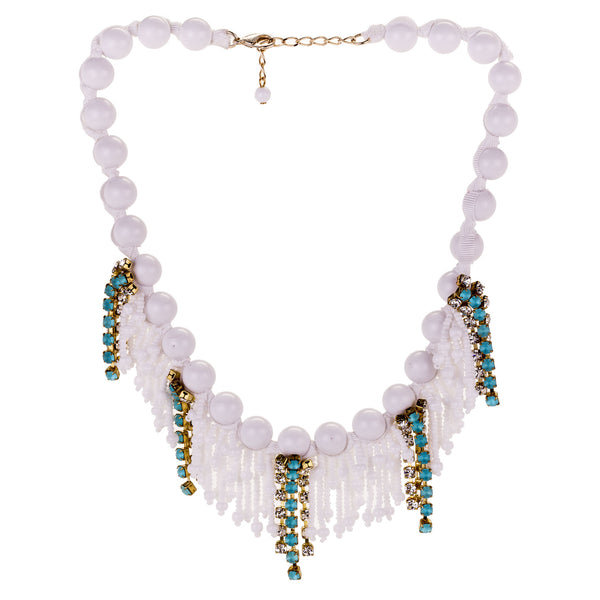 Sicilian Beaded and Blue Crystal Necklace by A'BIDDIKKIA