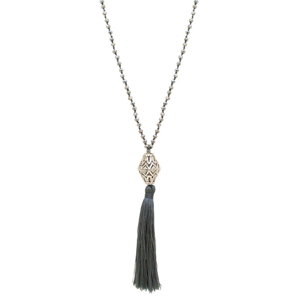 Long Silk Tassel Filigree Bead Necklace - Grey
