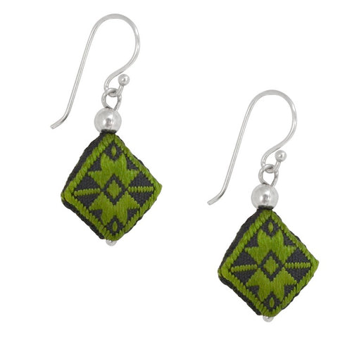 Embroidered Silk Earrings - Green and Black