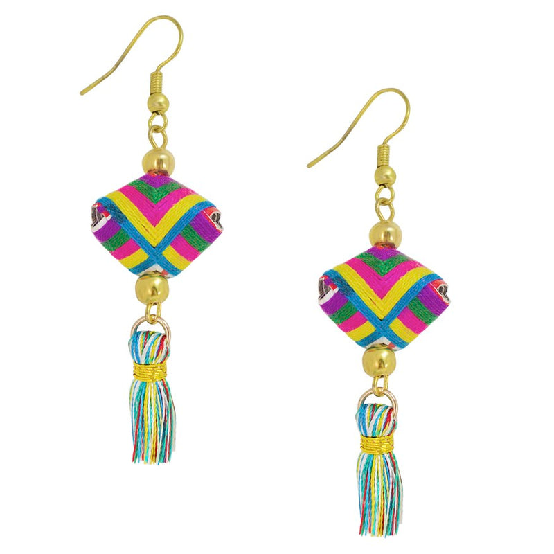Hand Woven Colorful Tassel Earrings