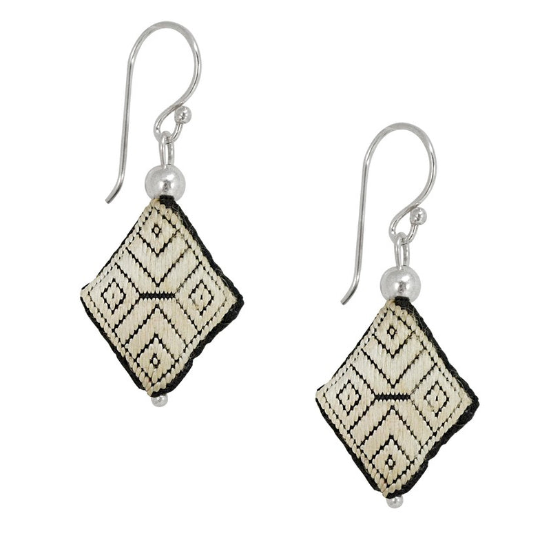 Embroidered Silk Earrings - White and Black