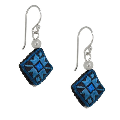 Embroidered Silk Earrings - Blue and Black