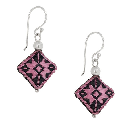 Embroidered Silk Earrings - Burgundy Pink