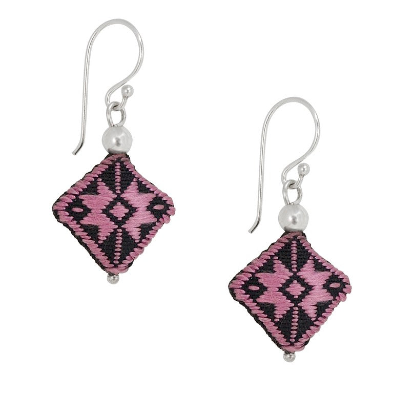 Embroidered Silk Earrings - Rose and Black