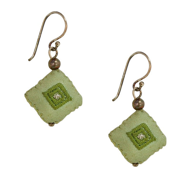 Embroidered Silk Earrings - Light Green