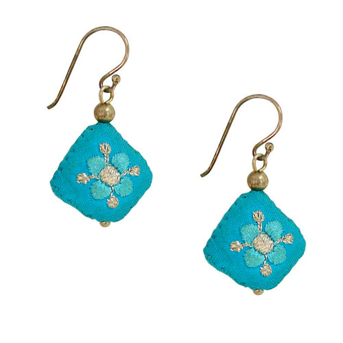 Embroidered Silk Earrings - Azul
