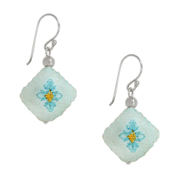 Embroidered Silk Earrings - Light Blue