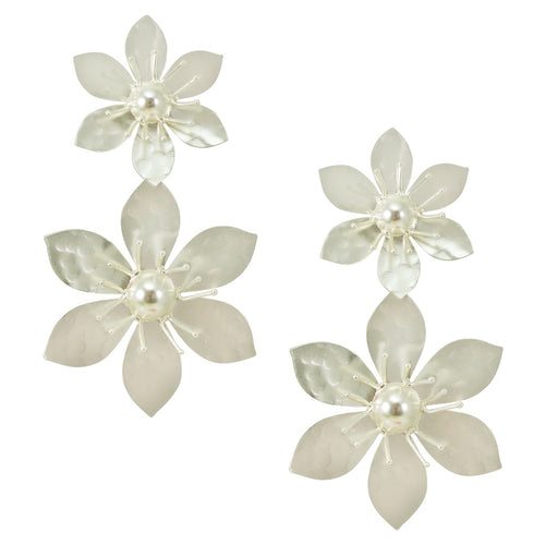 Silvered Double Drop Flower Earrings