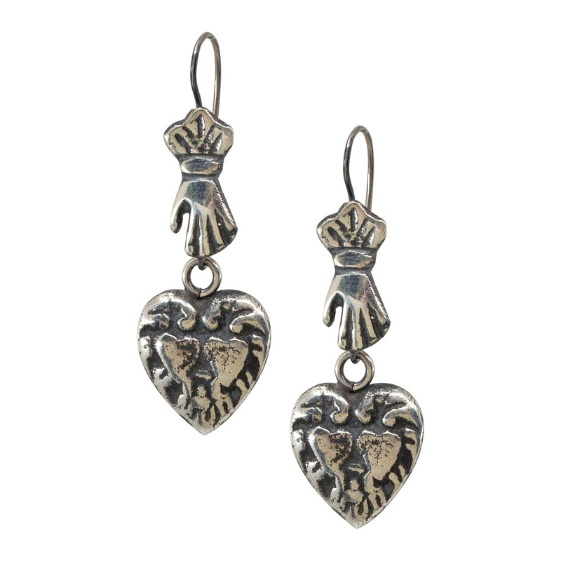 Molded Sterling Silver Hand and Heart Drop Earrings