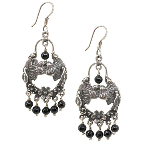 Love Bird Silver Drop Earrings from Taxco, Mexico - Onyx