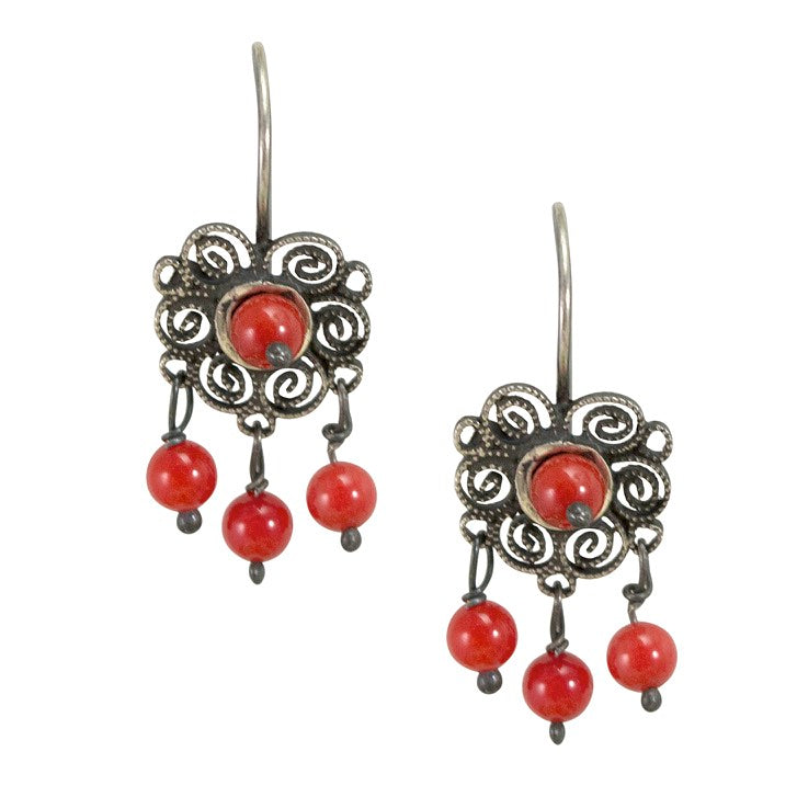 Mini Sterling Silver Frida Kahlo Filigree Earrings with Coral Beads