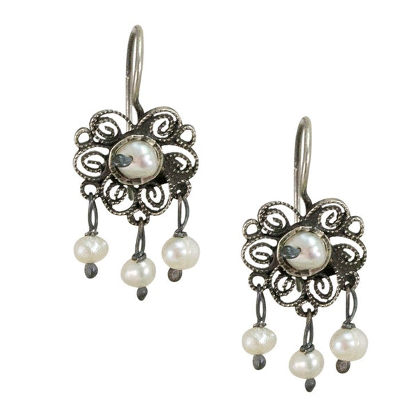 Mini Sterling Silver Frida Kahlo Filigree Earrings with Seed Pearls