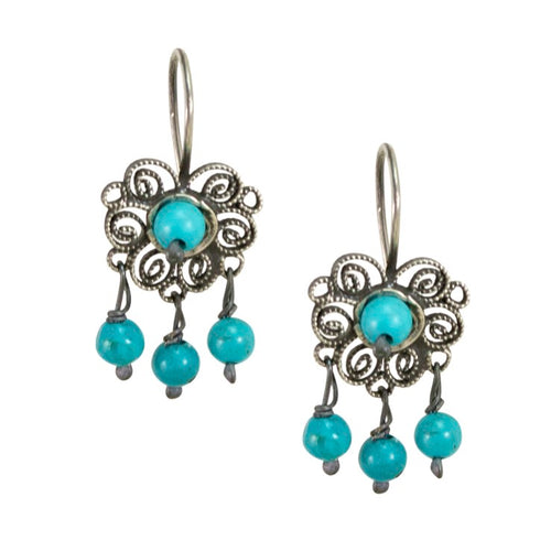 Mini Sterling Silver Frida Kahlo Filigree Earrings with Turquoise Beads