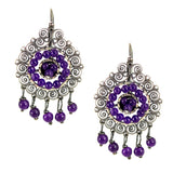 Rosa Silver Filigree Earrings from Oaxaca - Amethyst Purple