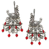 Peacock Silver Filigree Earrings from Oaxaca - Coral