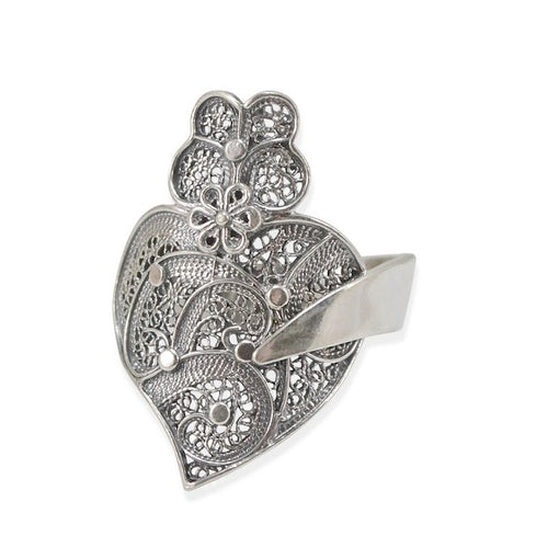 Heart Shaped Filigree Sterling Silver Adjustable Ring
