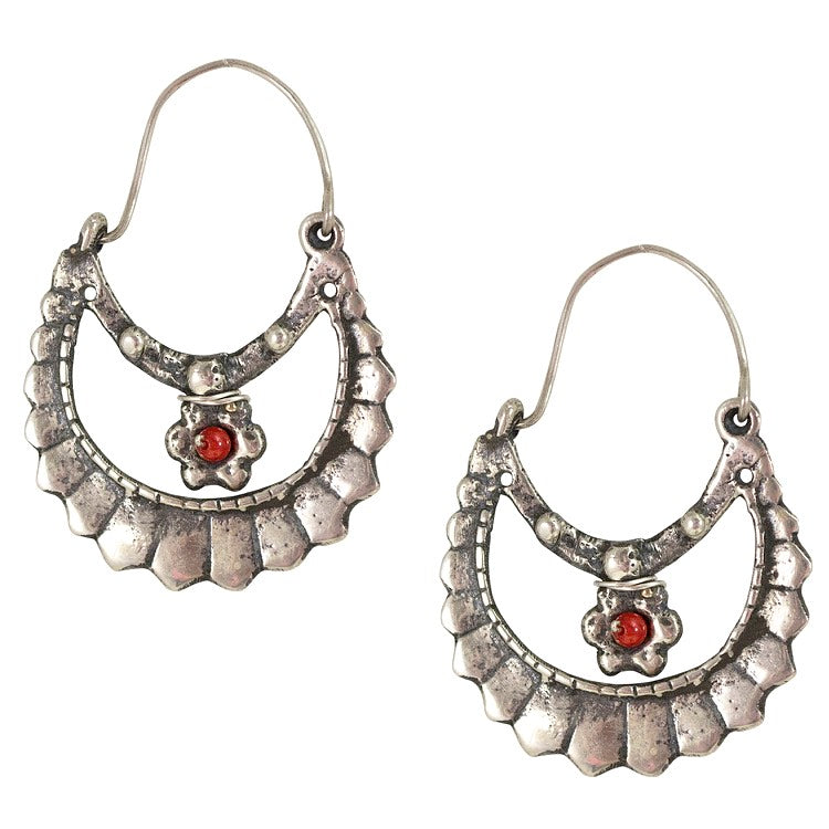 Arracadas Silver Frida Kahlo with Coral Earrings