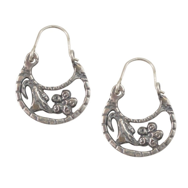 Arracadas Silver Flower Hoop Earrings
