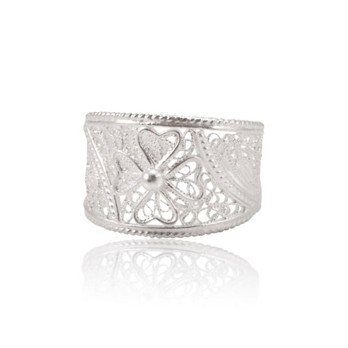 Sterling Silver Filigree Maltese Cross Ring