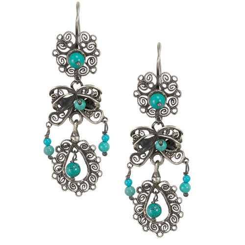d8a479f6da7f Mexico. Sterling Silver Frida Kahlo Filigree Earrings with Turquoise Beads