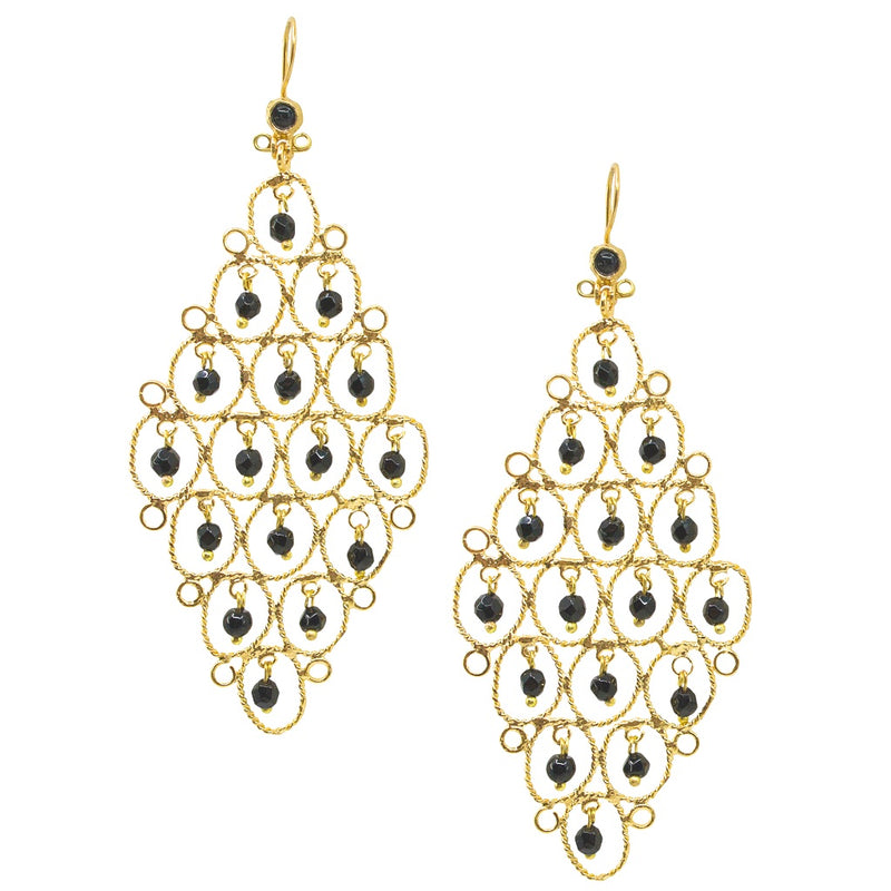Statement Artisan Chandelier Earrings with Onyx