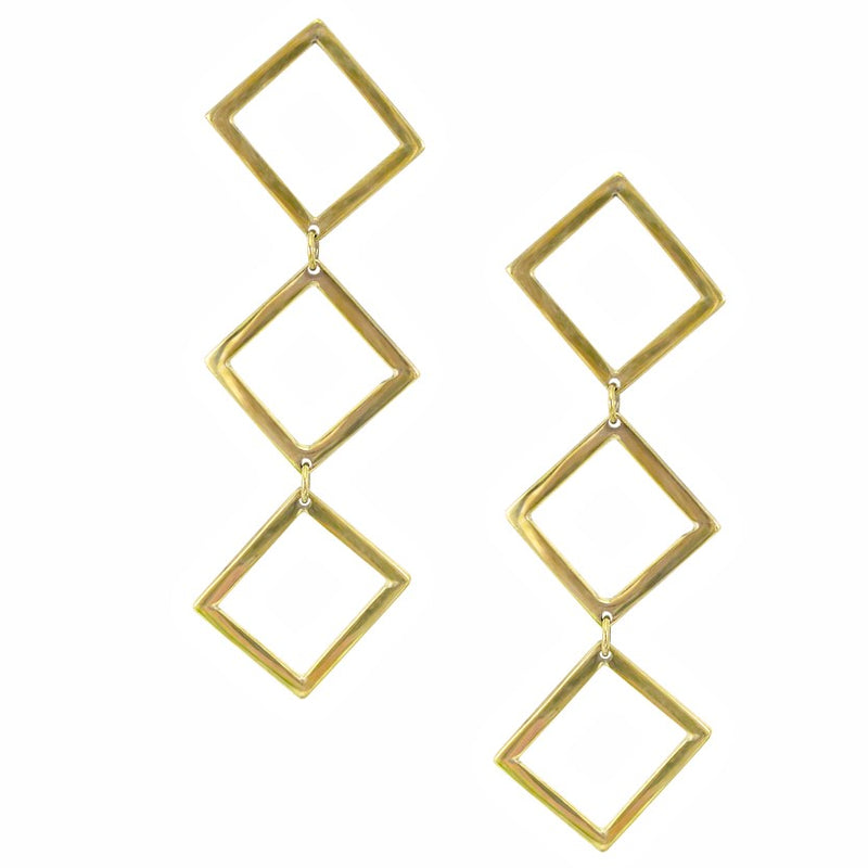Stella Drop Brass Earrings