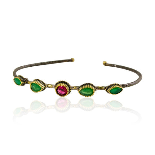 Ruby and Emerald Open Bangle