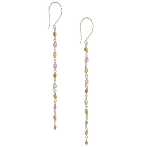 Silver and Gold Drop Chain Earrings