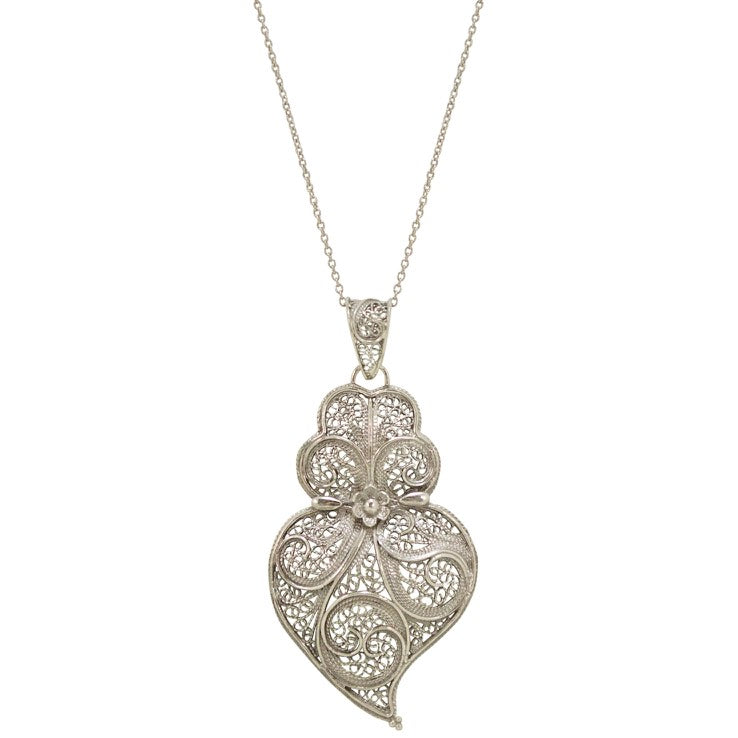 Sterling silver heart shaped filigree pendant necklace jj caprices sterling silver heart shaped filigree pendant necklace mozeypictures Images