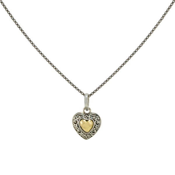 Balinese Sterling Silver and 18K Gold Heart Pendant **Chain Sold Separate**