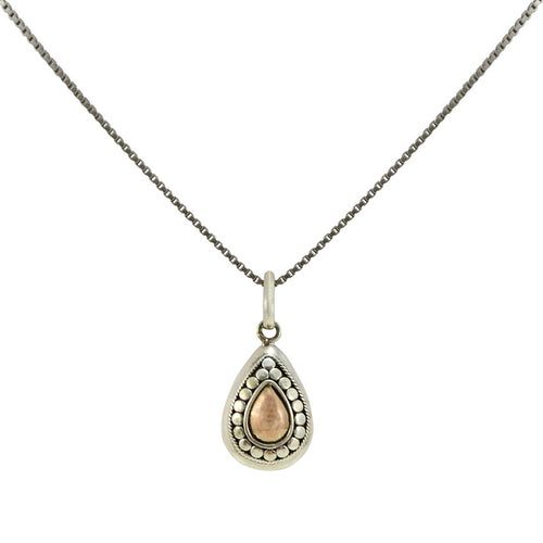 Balinese Sterling Silver and 18K Gold Tear Drop Pendant **Chain Sold Separate**