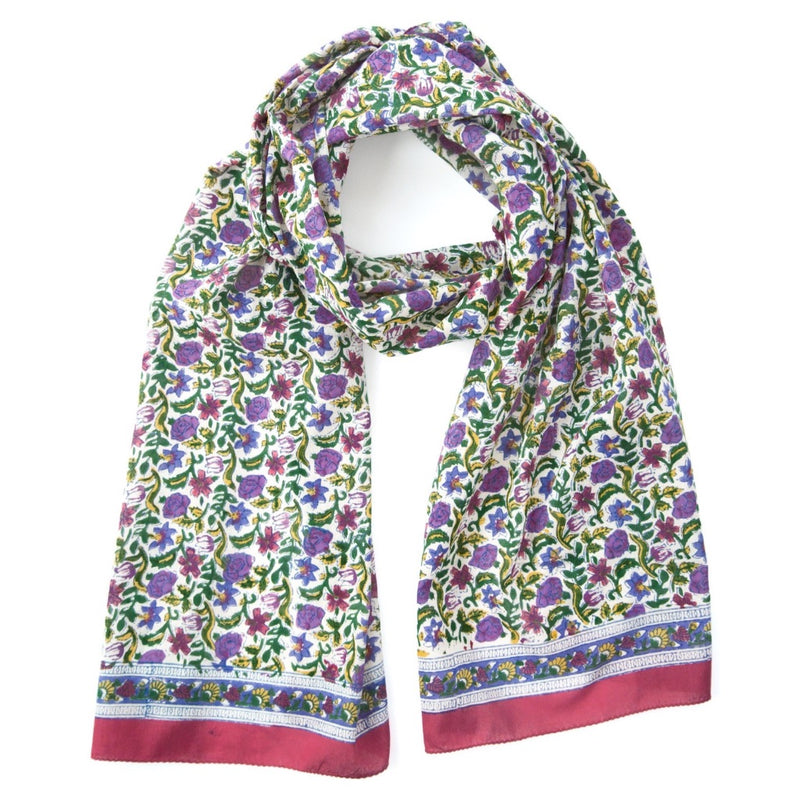 Hand Block Printed Scarf - Summer Wildflowers