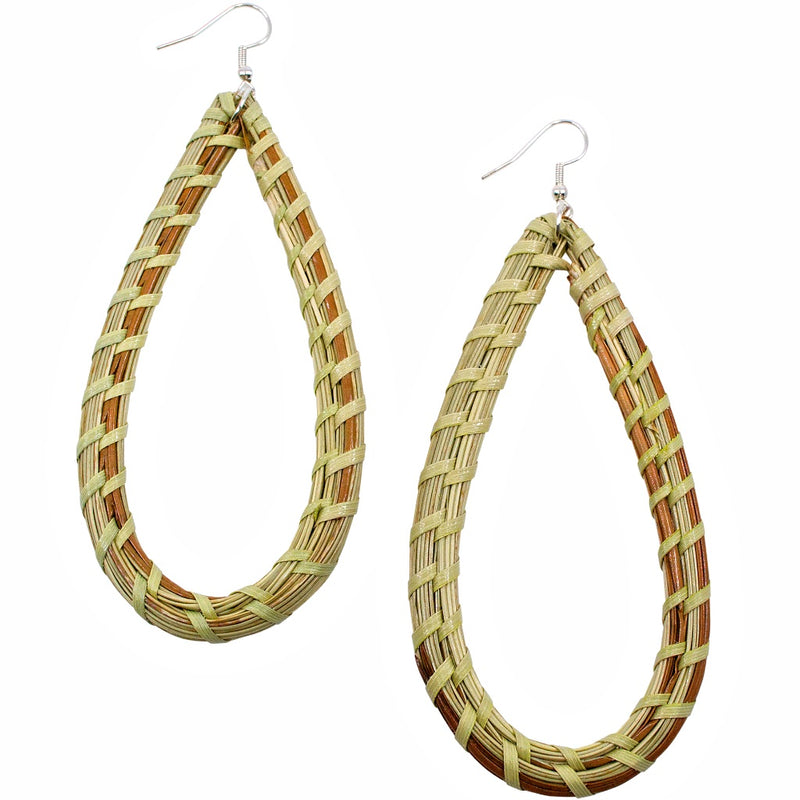 Long Tear Drop Sweet Grass Earrings