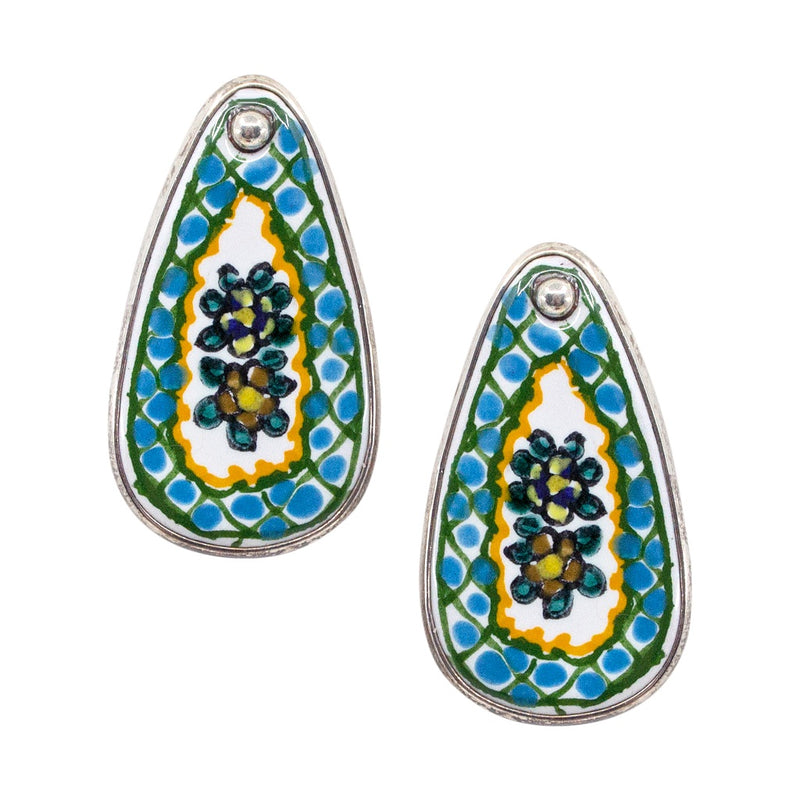 Hand Painted Talavera and Sterling Silver Tile Earrings