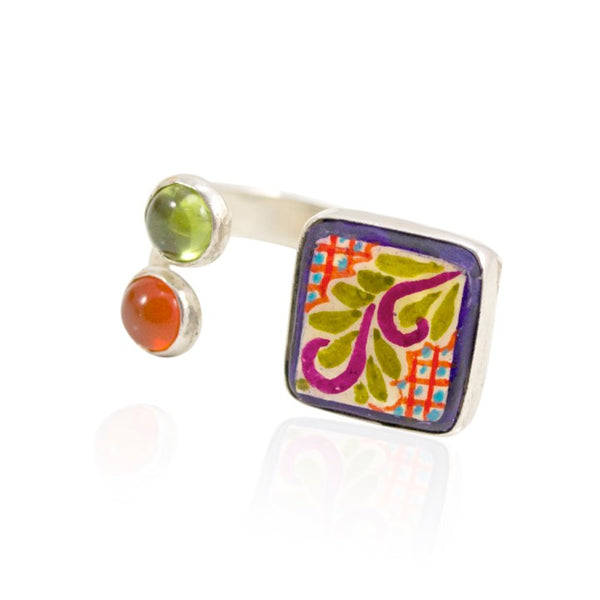 Hand Painted Talavera and Sterling Silver Ring - Adjustable