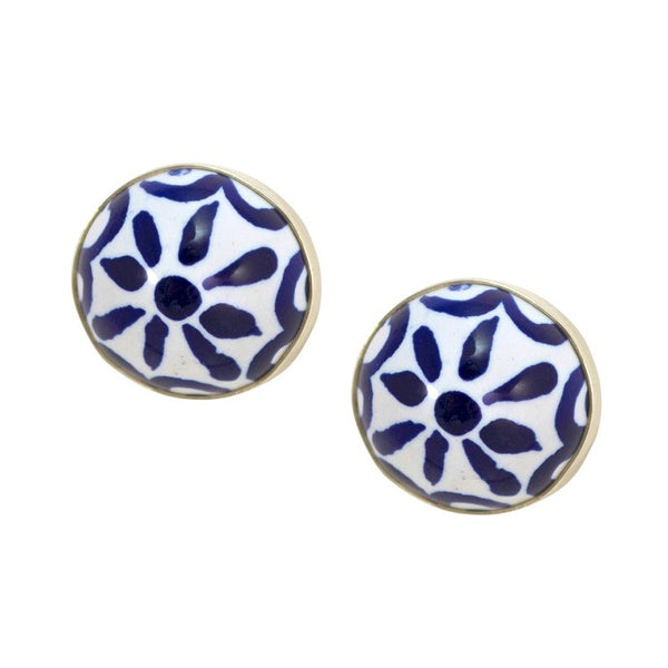 Hand Painted Talavera and Sterling Silver Earrings
