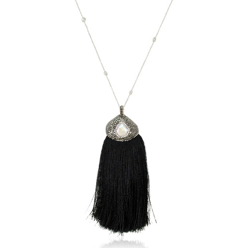 .925 Sterling Silver Gem and Crystal Tassel Necklace