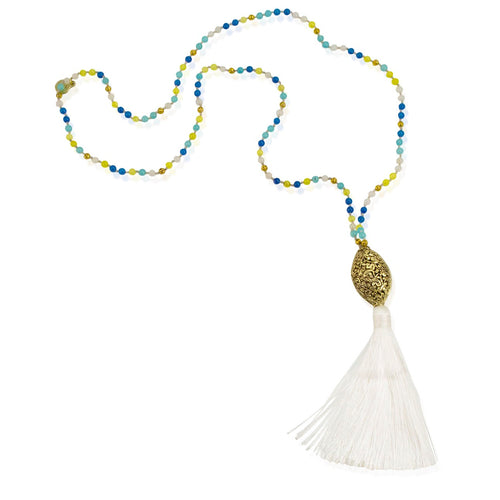 Colorful Bead and Long Silk Tassel Necklace